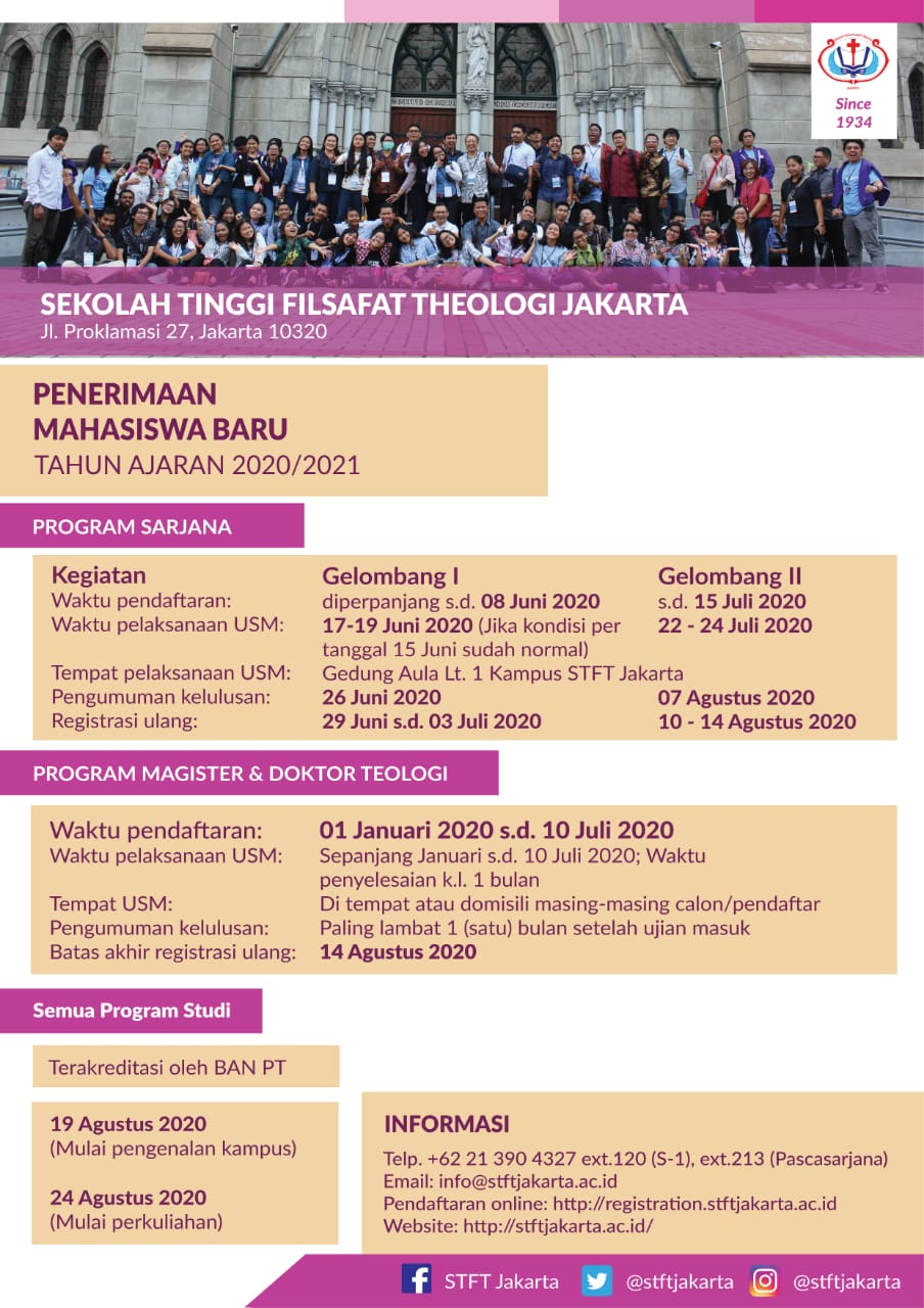Penerimaan Mahasiswa/i Baru STFT Jakarta TA 2020/2021 ...