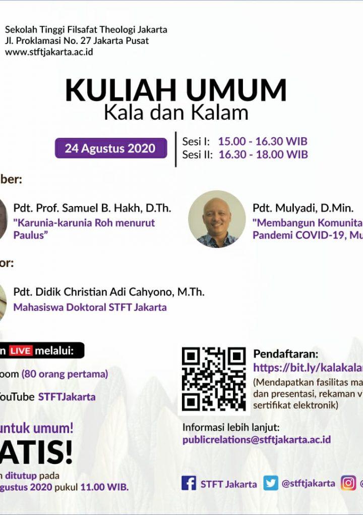 Kuliah Umum Bulanan: Kala dan Kalam edisi Agustus 2020