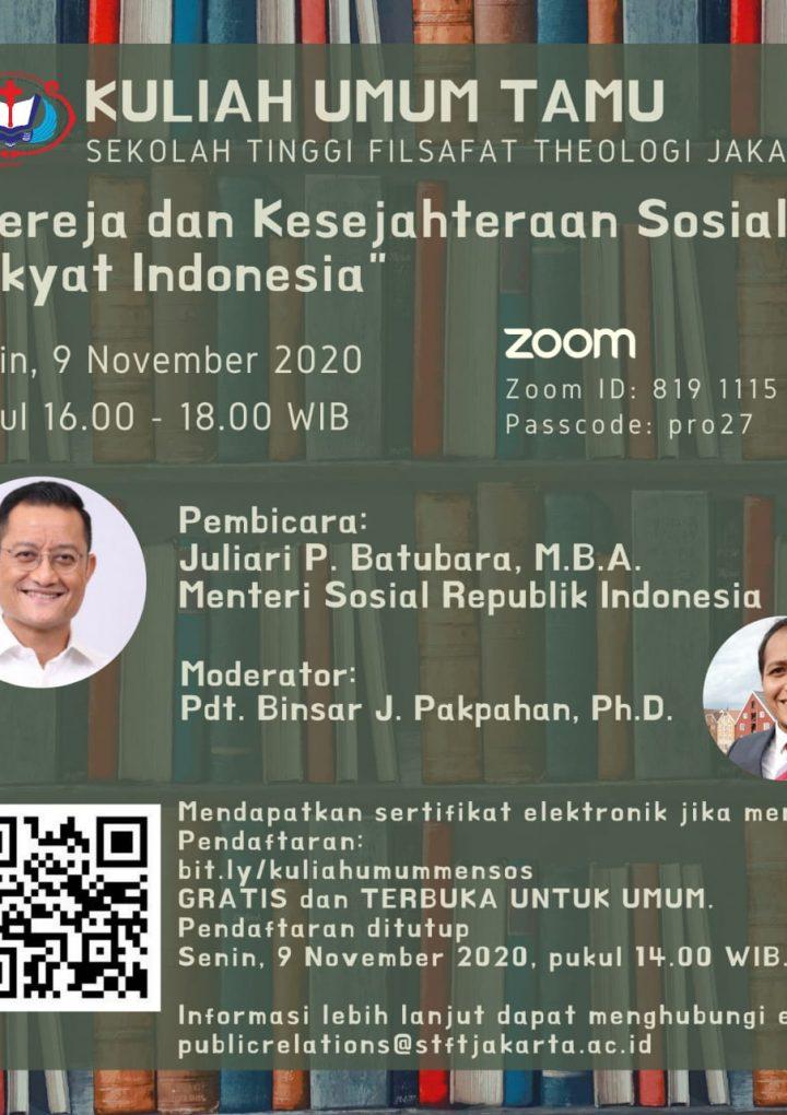 Pusat Kajian Teologi Publik: Kuliah Umum Tamu STFT Jakarta bersama Menteri Sosial Republik Indonesia