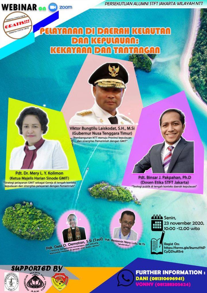 """Persekutuan Alumni STFT Jakarta Wilayah Nusa Tenggara Timur Mengadakan Webinar """"Pelayanan di Daerah Kelautan dan Kepulauan: Kekayaan dan Tantangan""""."""